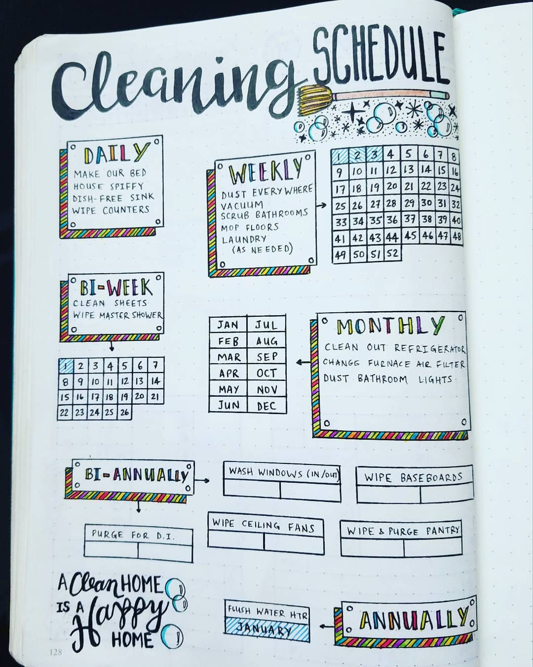 "748 Likes, 41 Comments - Micah (@my_blue_sky_design) on Instagram: ""Cleaning Schedule Spread - 2017 I've been wanting to make a #cleaning schedule for weeks! I'm so…"""