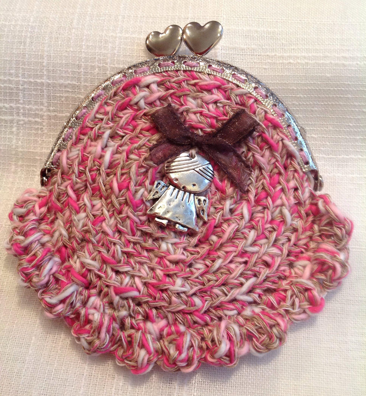 #Monedero tejido a ganchillo en hilo jaspeado de color rosa