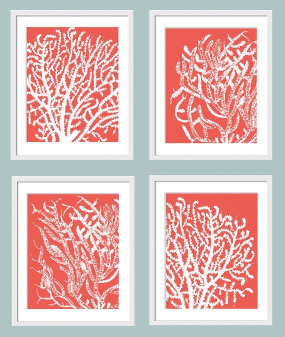 Coral Undersea Garden 4 Art Prints Wall Art Home By Colorarts 50 00 Coral Art Wall Art Prints Art Prints