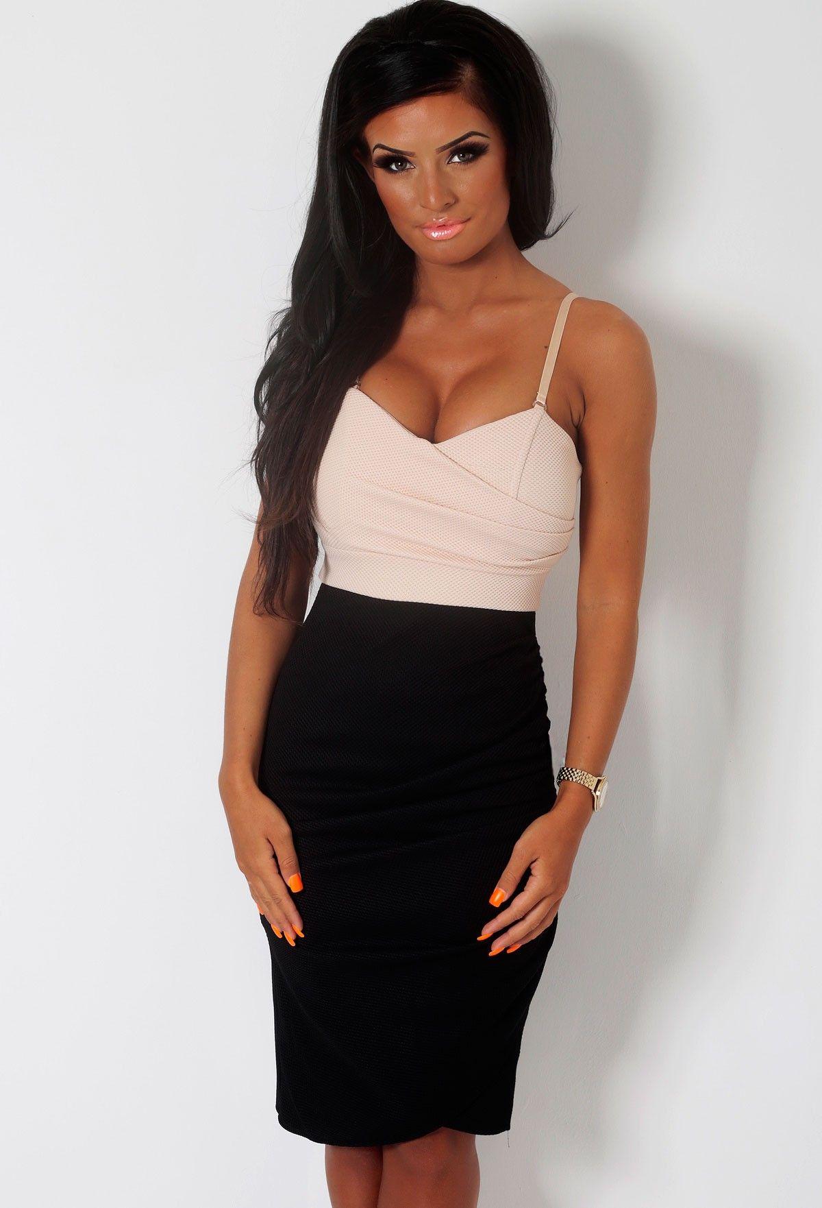 Critique Black & Nude Textured Wrap Midi Dress   Pink Boutique ...