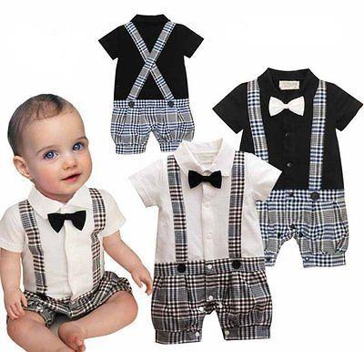 Baby Boy Wedding Christening Tuxedo Suit Bowtie Romper Outfit Clothes NEWBORN-18