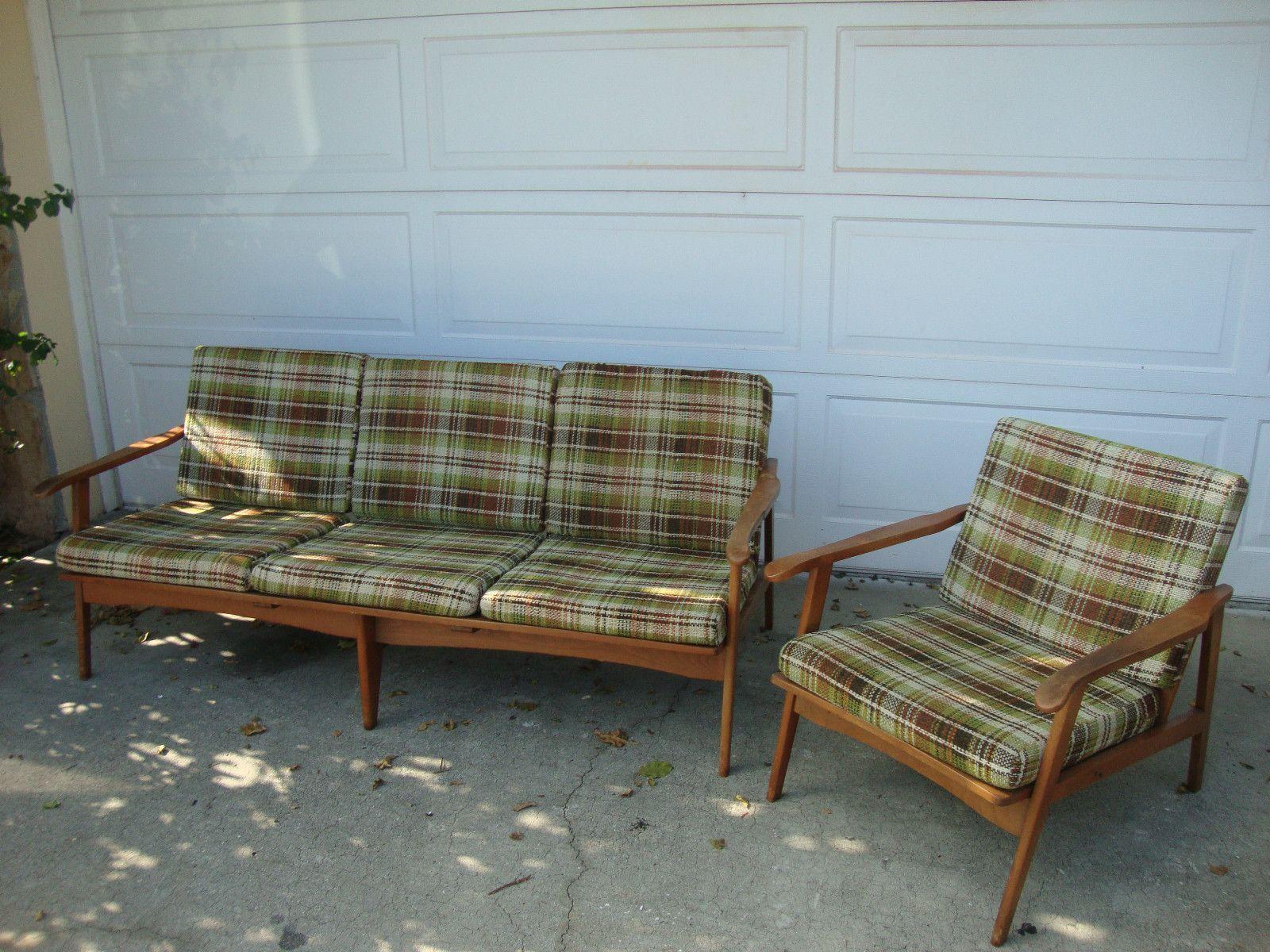 Danish Modern Eames Era Mid Century Matching Sofa & Chair made in