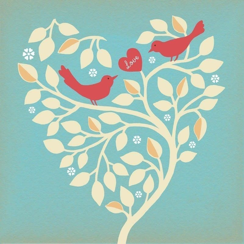 Love Branch on Blue Art Print by pictorialboom on Etsy
