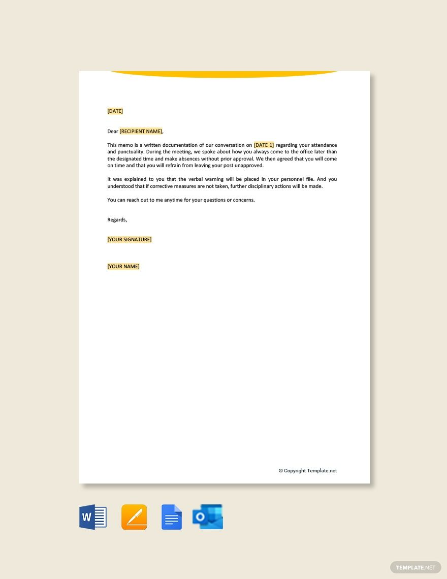Verbal Warning Letter Template Free Pdf Word Doc Apple Mac Pages Google Docs Lettering Letter Templates Letter Sample