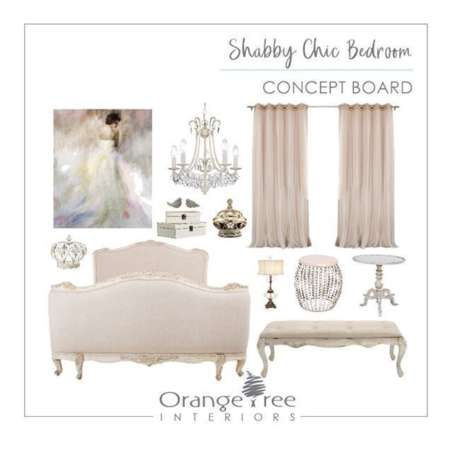 Hereu0027s A Concept Board We Did For A Shabby Chic Bedroom. Mismatched And  Charming Vintage Or Pleasantly Worn Furnishings Combined With A White  Off White Or ...