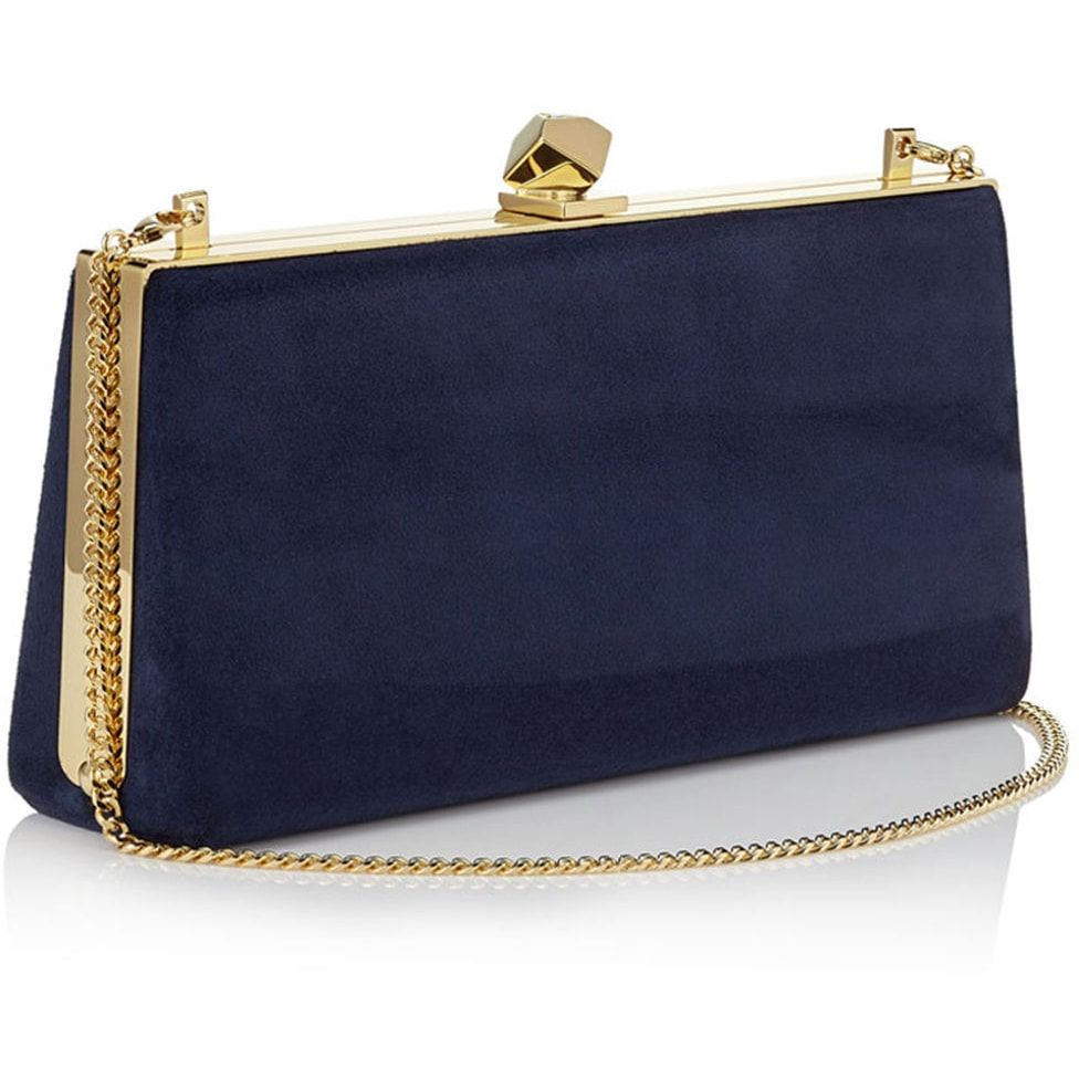 35bd743782 Jimmy Choo 'Celeste S' Navy Suede Clutch | polyvore in 2019 | Purses ...