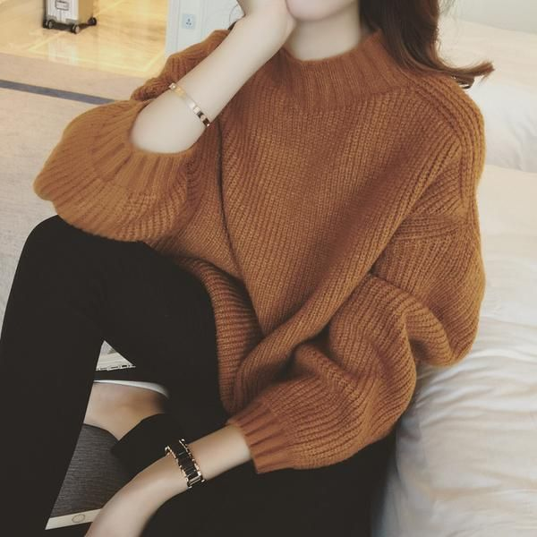 Women Pure Color Vertical Lines Thickned Long Sleeve Sweater