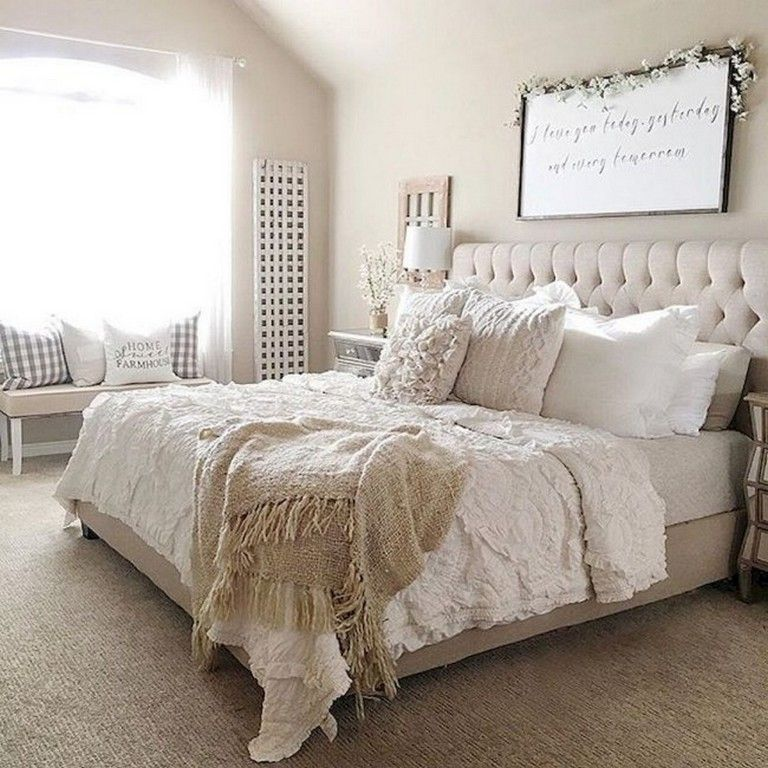 50+ Simple Rustic Farmhouse Bedroom Decorating Ideas To