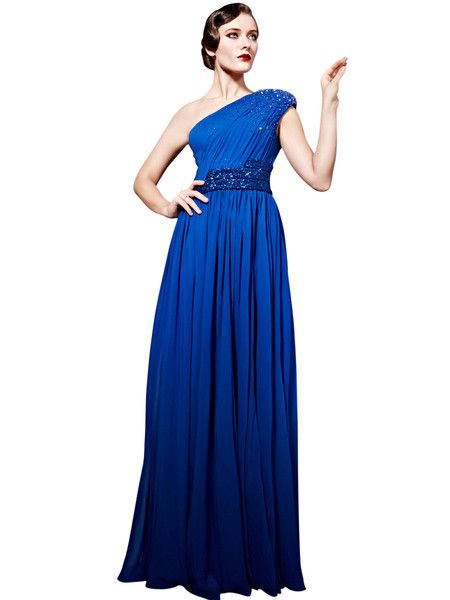 Blue Chiffon Passion Evening Dress (56853) - MADE to ORDER  £335.00 MADE TO ORDER: 8 to 10 weeks.  Elegant evening dress in full blue tone featuring asymmetrical A Line silhouette in light chiffon material, triple shimmering belted waist, ruched bodice and upper skirt, scattered crystal embellishments from the shoulder to the bodice.