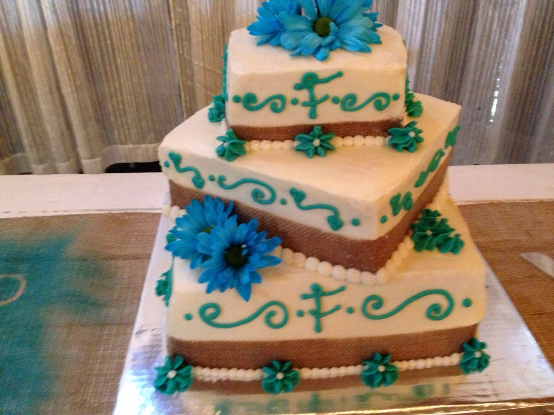 Square three tier country burlap and turquoise wedding