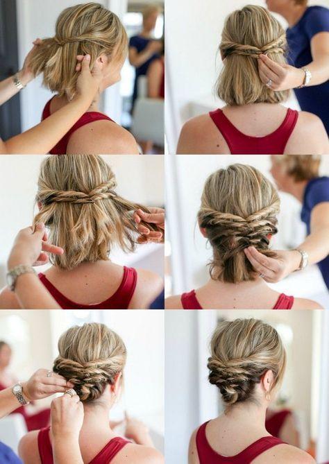 Hochsteckfrisuren mit Anleitung für kurze Haare #shortupdohairstyles