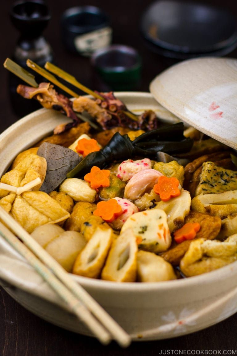 A classic winter comfort dish in Japan, Oden is a one-pot dish with an assortment of fish balls, fish cakes, deep-fried tofu, hard-boiled eggs, konnyaku and some vegetables simmered in soy sauce-based dashi broth. It tastes even better the second day! #oden #hotpot | Easy Japanese Recipes at JustOneCookbook.com