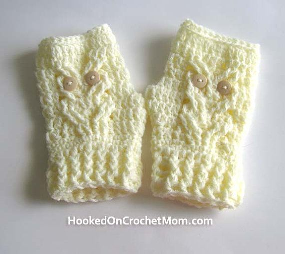 Owl Fingerless Gloves, Crochet Handmade Womens Size Medium Wrist ...