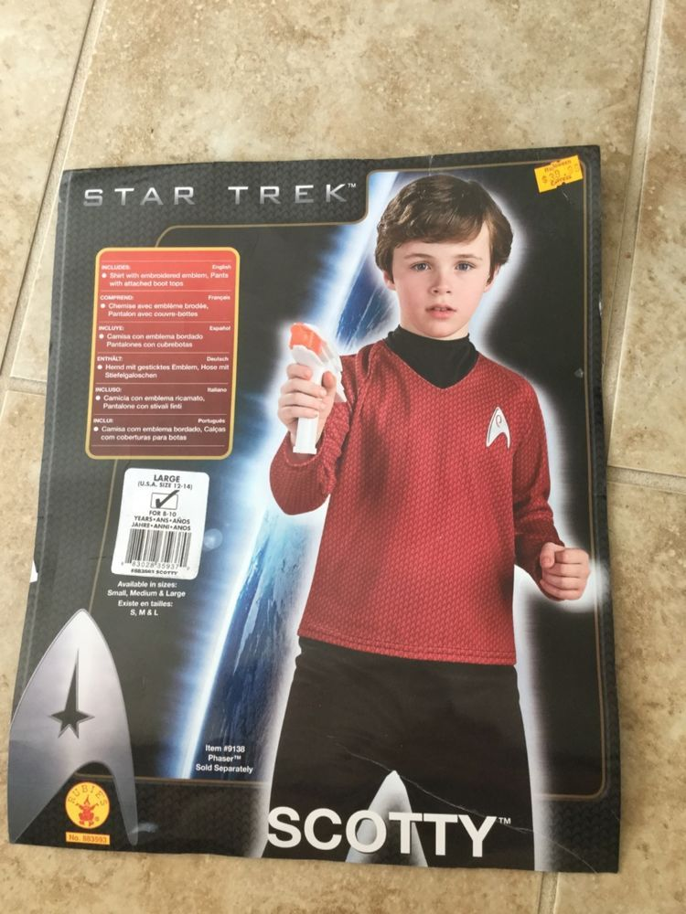 Star Trek Movie Scotty Costume Red Shirt Black Pants Child Size Large 12-14 #  sc 1 st  Pinterest & Star Trek Movie Scotty Costume Red Shirt Black Pants Child Size ...