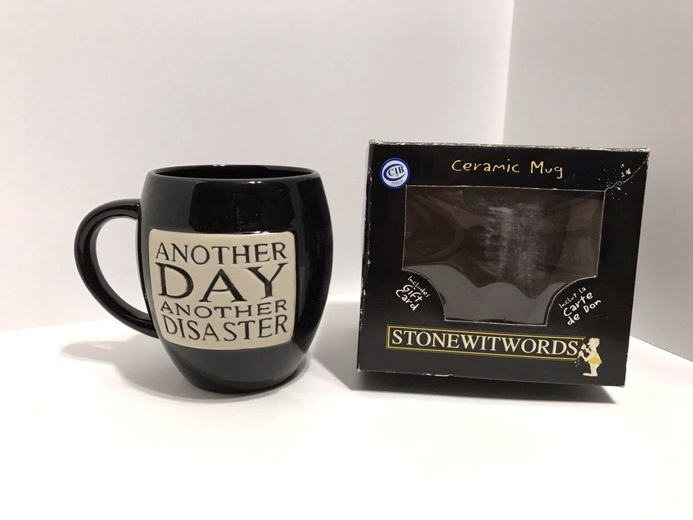 Another Day Disaster Oversize Coffee Mug Cup Black New By Stonewitworks
