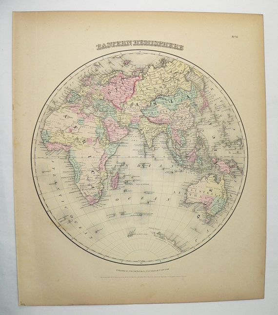 1856 Colton Map Eastern Hemisphere Map, World Globe, Africa Map Asia Middle East  Map Australia, Real Antique Map, Office Art Gift For Boss | Africa Map, ...