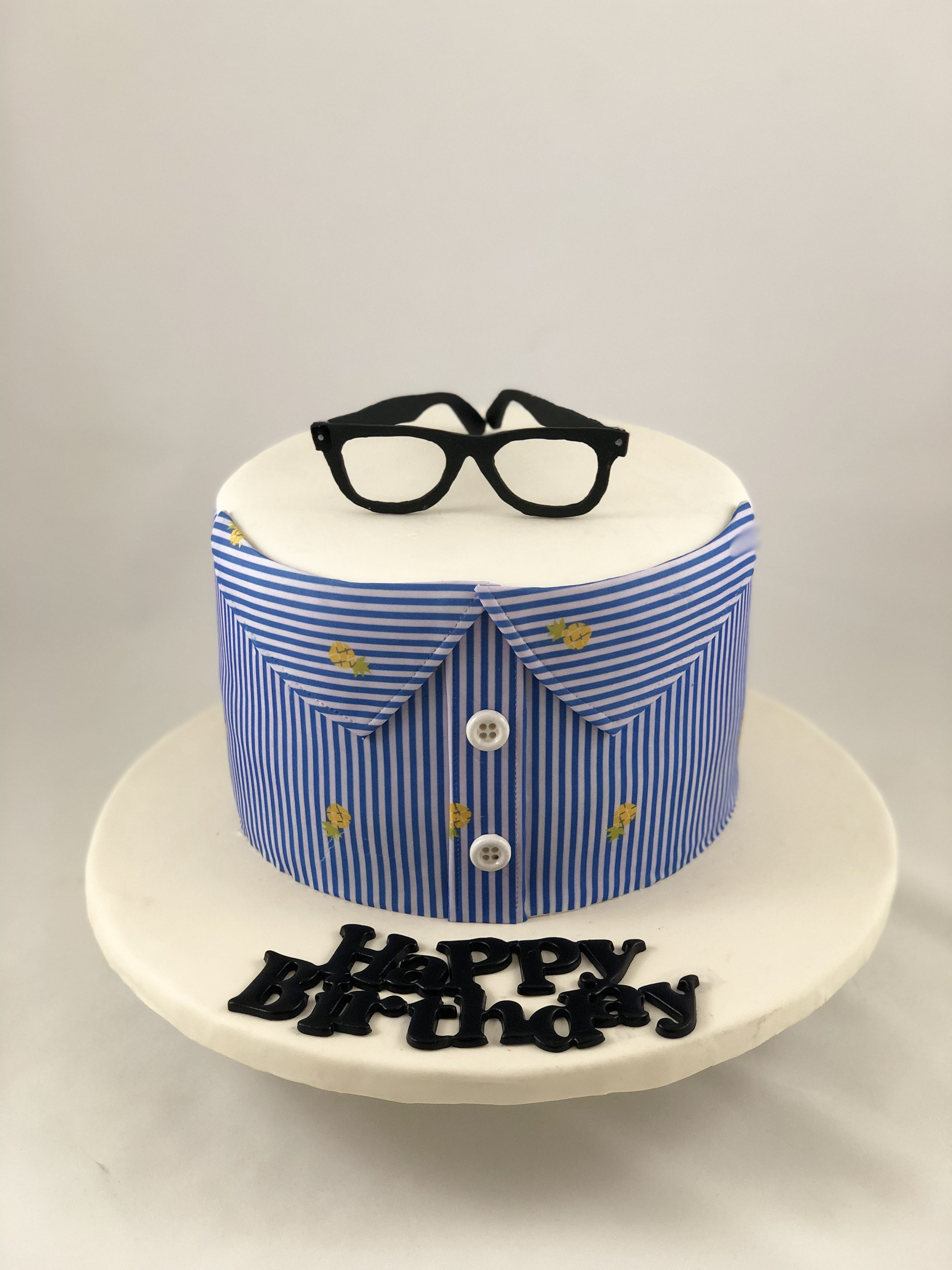 Remarkable Shirt And Glasses Cake With Images Birthday Cake For Him Cake Personalised Birthday Cards Veneteletsinfo