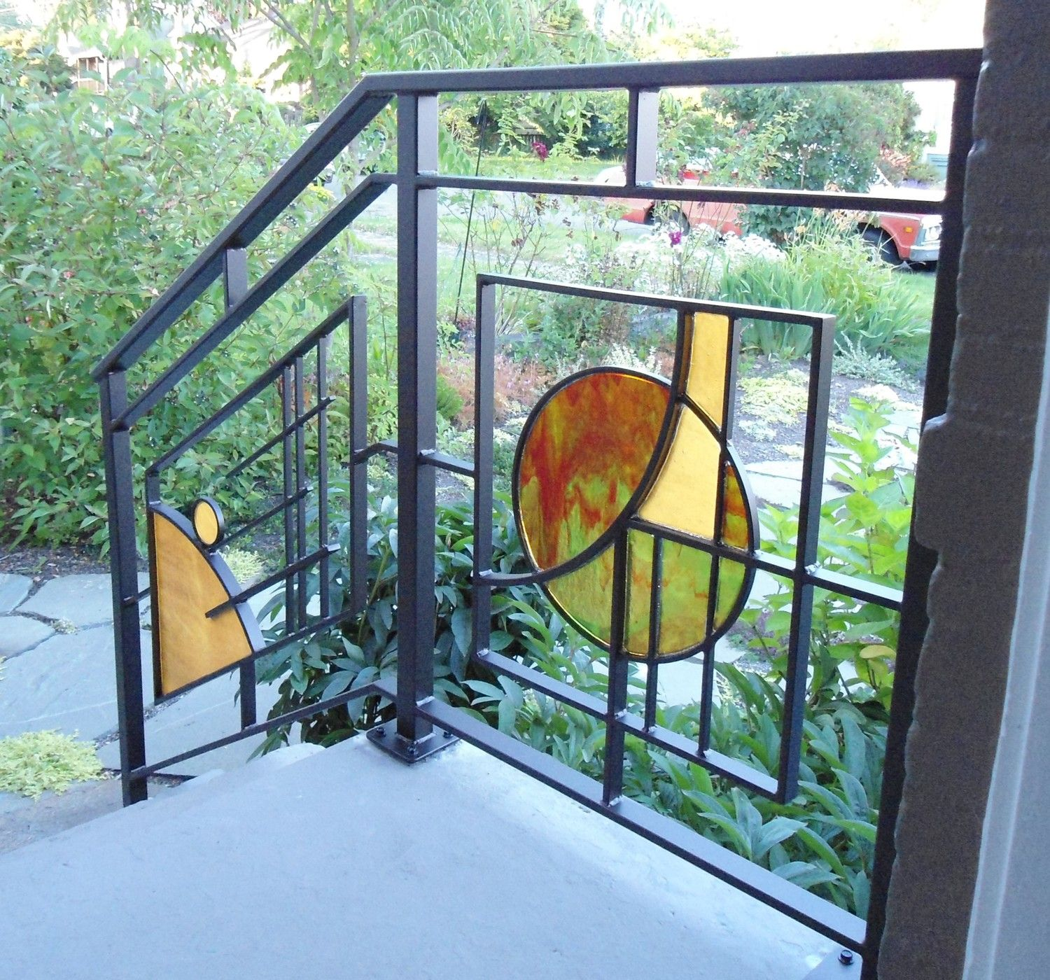 Modern Art Stained Glass And Wrought Iron Custom Railing Porch