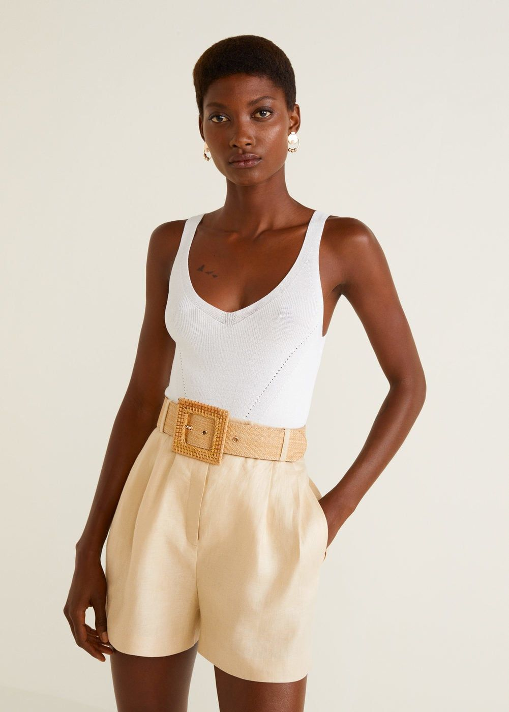 6104d9649b00 Short tiro alto lino - Mujer en 2019 | shopping | Shorts tiro alto ...