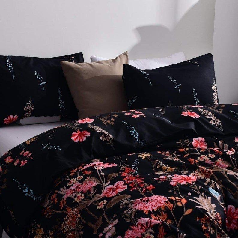 Duvet Cover Queen Duvet Cover Set Floral Soft Black Bedding Etsy Duvet Cover Sets Black Bed Set Black Bedding What is duvet cover set