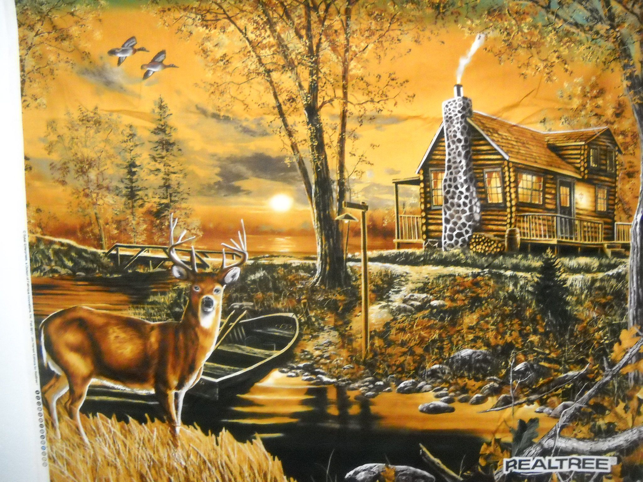 REALTREE Deer And Cabin In The Woods Scenic Fabric Panel Wall ...