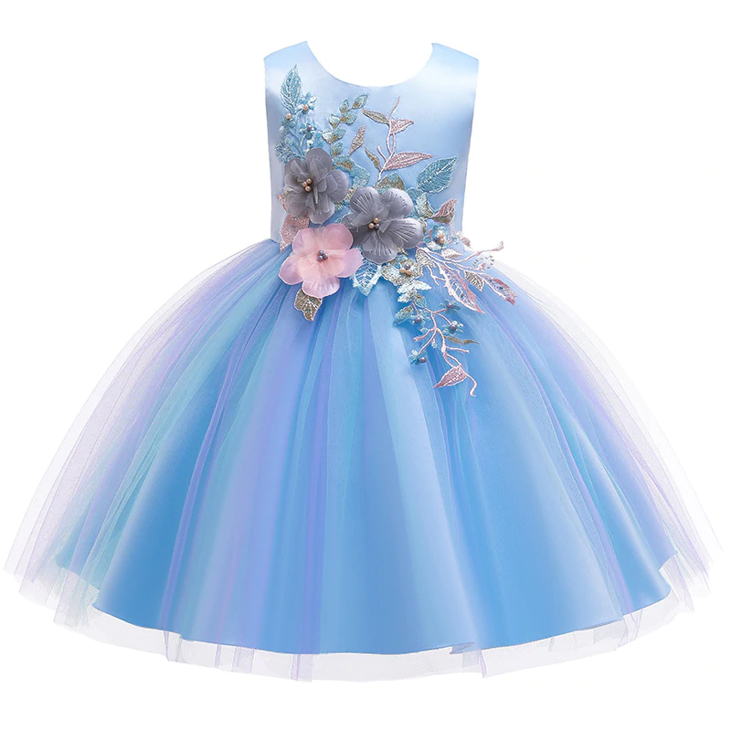 New Lace Baby Blue Party Dress for Girls Princess Toddler Wedding Kids Clothes