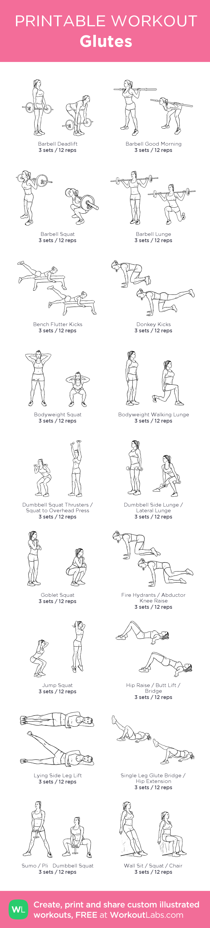 Glutes : my visual workout created at WorkoutLabs.com • Click through to customize and download as a FREE PDF! #customworkout