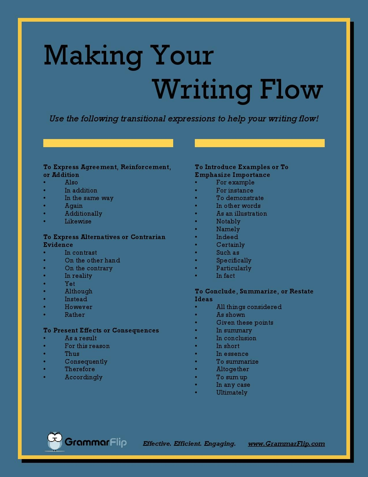 Use The Following Transitional Expression To Help Your Writing Flow Skill Tips Adelman Dissertation