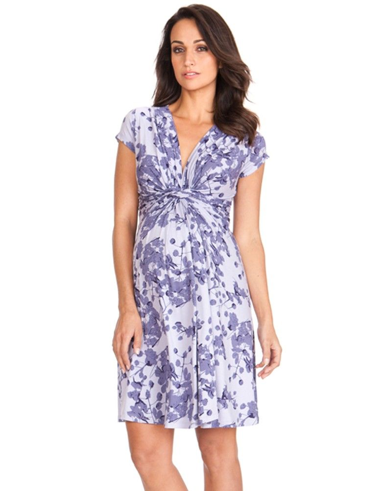 2291b0acf39 Lavender Blossom Knot Front Maternity Dress