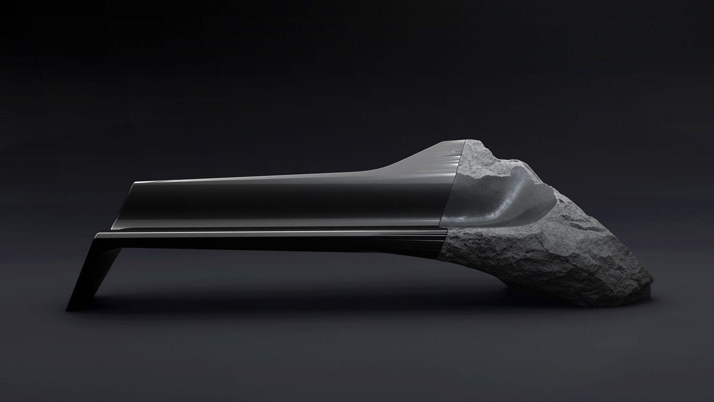 Le sofa ONYX est une assise sculptée de 3 mètres de long composée de carbone et de lave de Volvic.