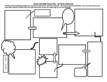 Comic Strip Template For Romeo And Juliet By William Shakespeare