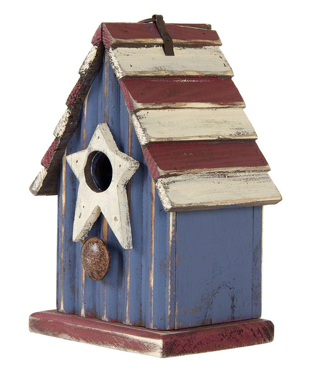 Stripe Roof Wooden Birdhouse
