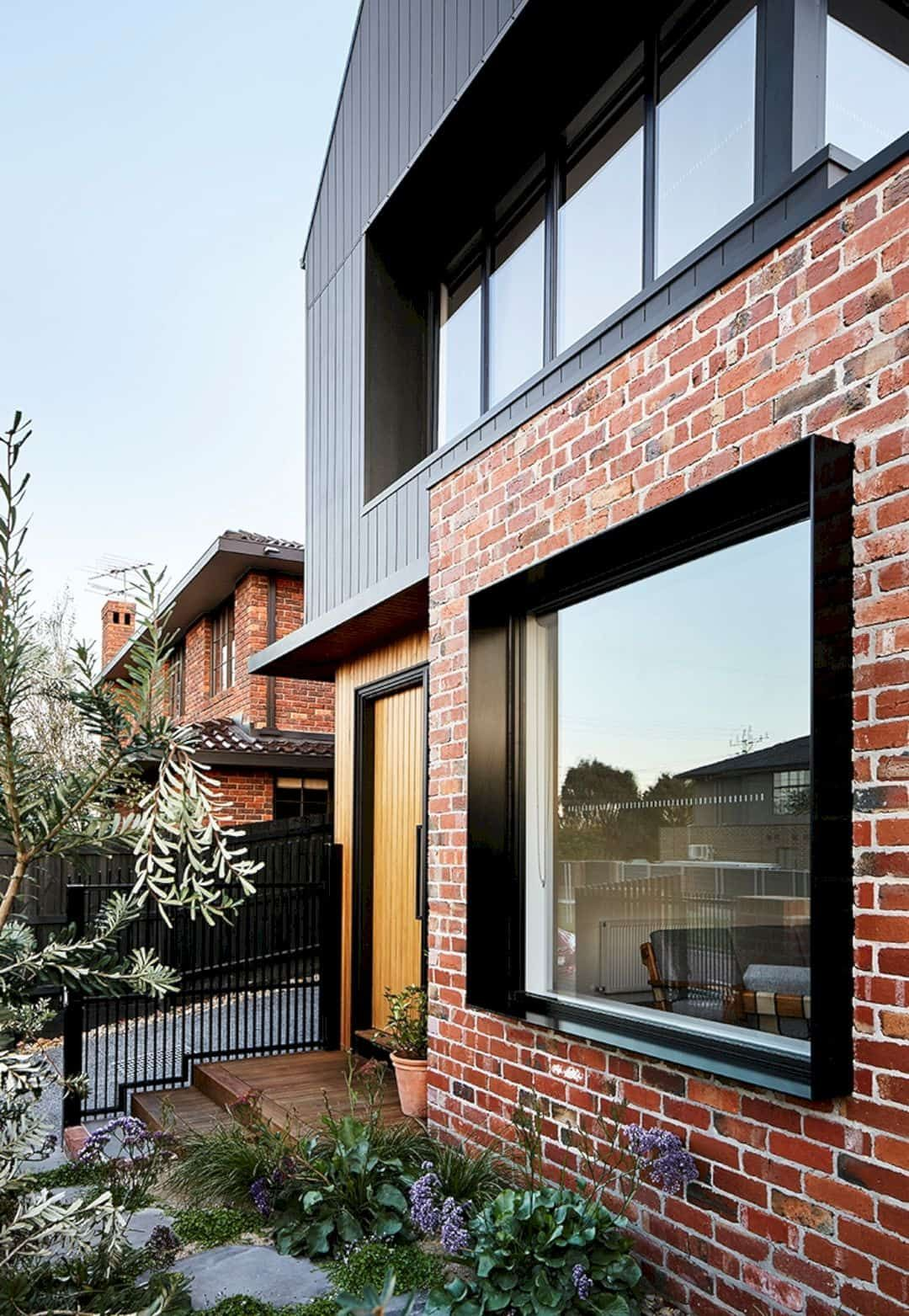 Brick And Wood Finish Architecture Modern Brick House Contemporary House Exterior Wooden House Design