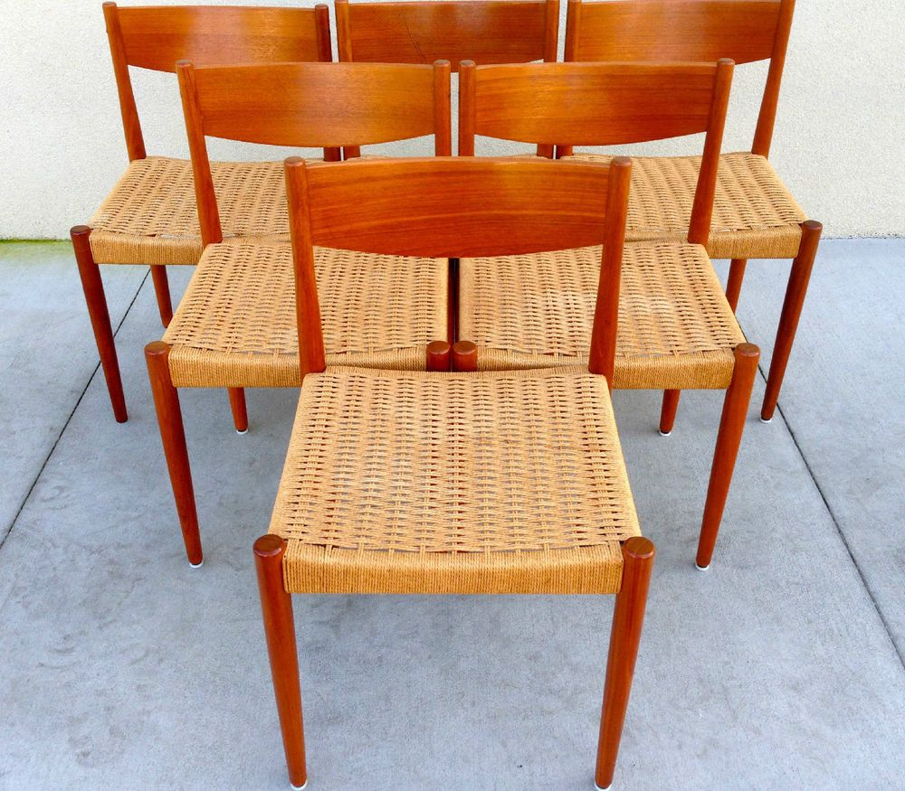 6 Mid Century Modern Woven Cord Teak Dining Chairs By Danish Control Teak Dining Chairs Chair Dining Chairs