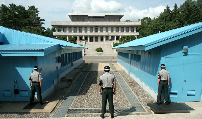 DMZ, Korea. While we were inside the blue building on the left I walked all the way to the back of the room and took a pic of myself with the window in the background showing that I was in fact in North Korea lol. The buildings are neutral zones though so I'm not really all that brave :).