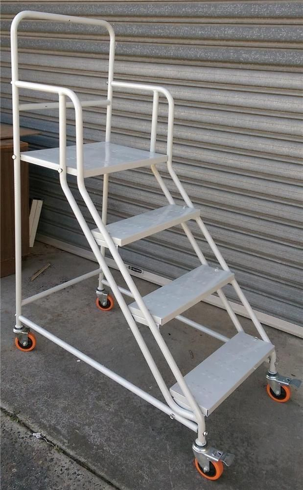 Platform Ladder Steel Steps Trestle Scaffold Warehouse
