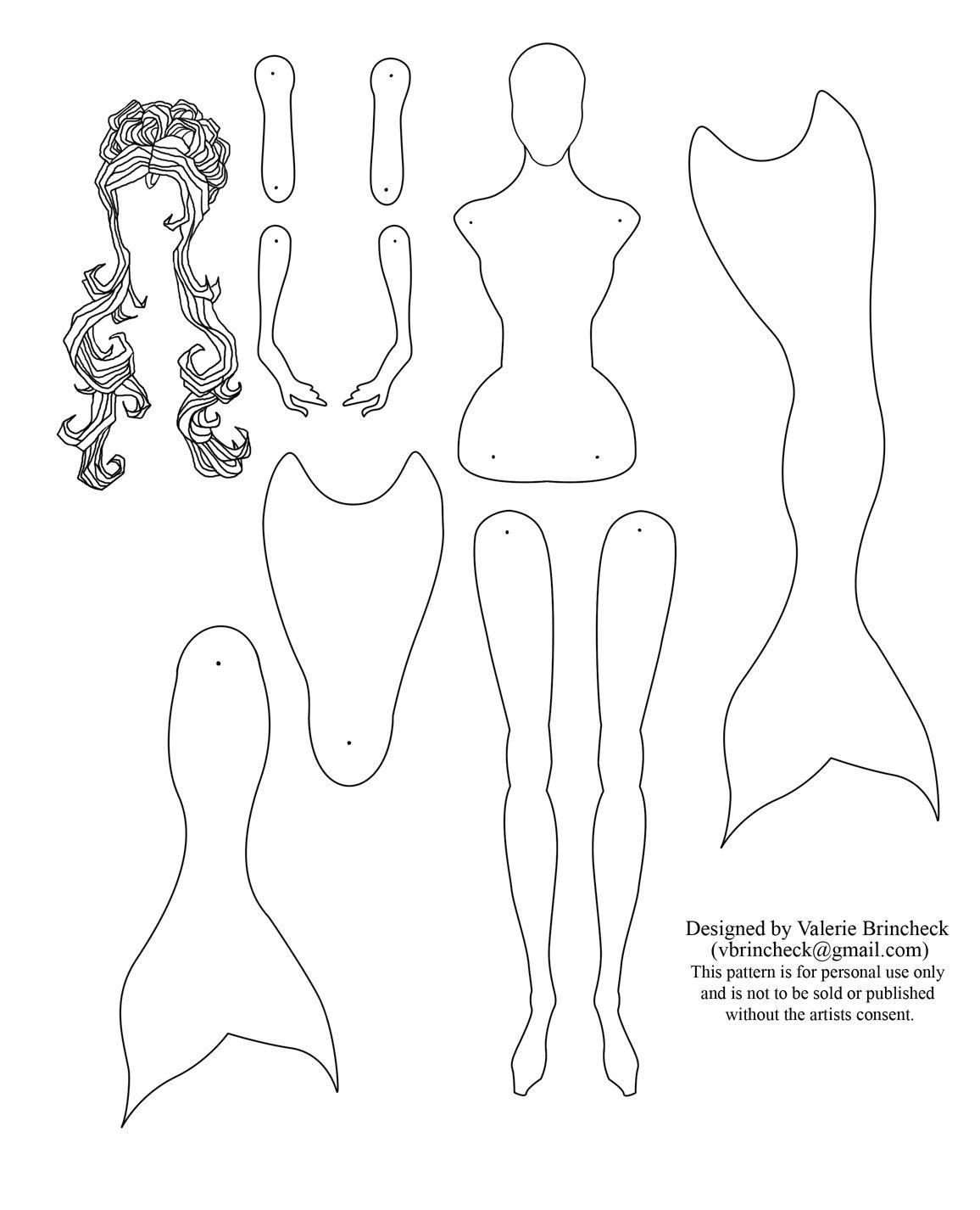 Mermaid paper doll by Valerie Brincheck