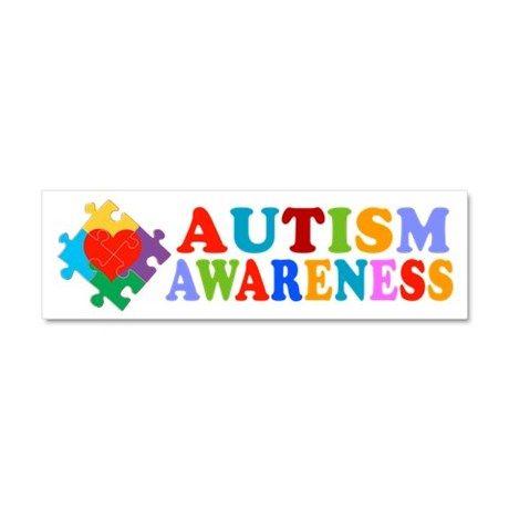 Autism awareness heart car magnet 10 x 3