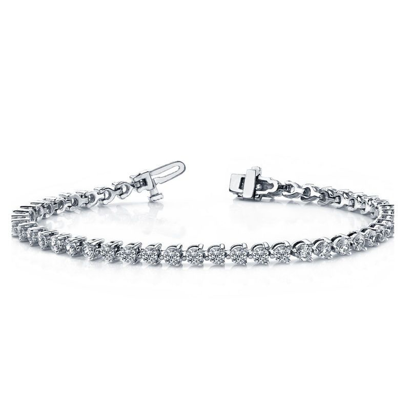 3 Ct T W Genuine White Diamond 10k White Gold 7 Inch Tennis Bracelet Beautiful Jewelry Bracelet Diamond Bracelet