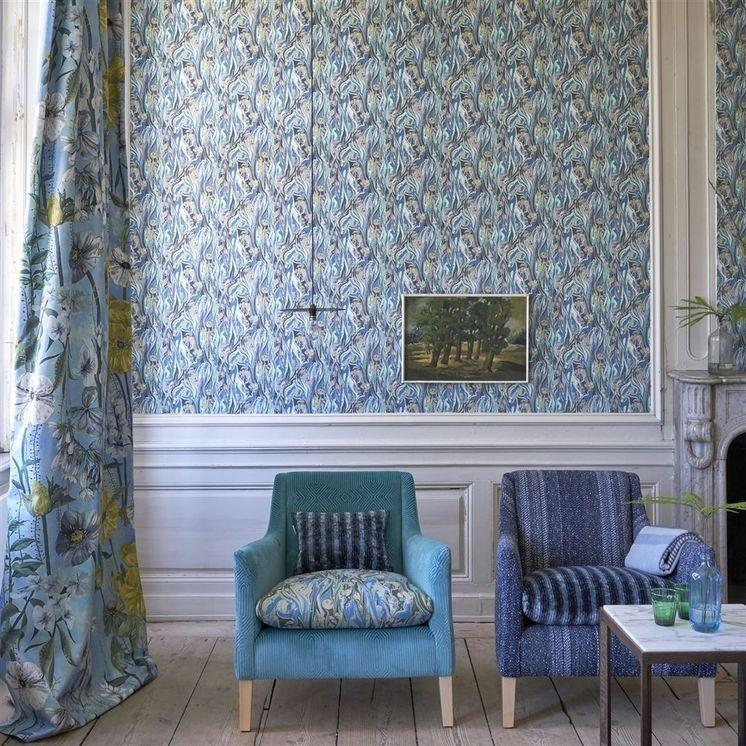 Designers Guild Delahaye Cobalt Wallpaper Marble effect