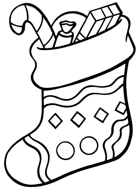 Christmas Stocking Coloring Pages for Kids | Navidad | Pinterest ...