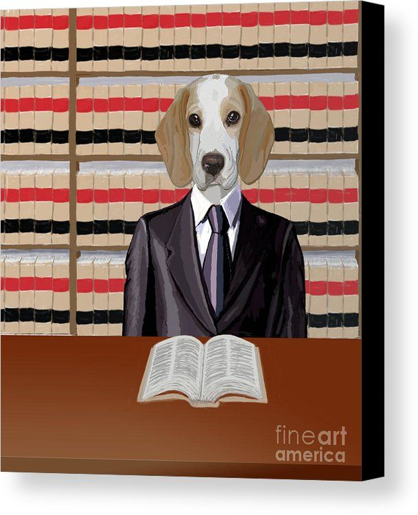 Beagle Canvas Print Featuring The Painting Legal Beagle By