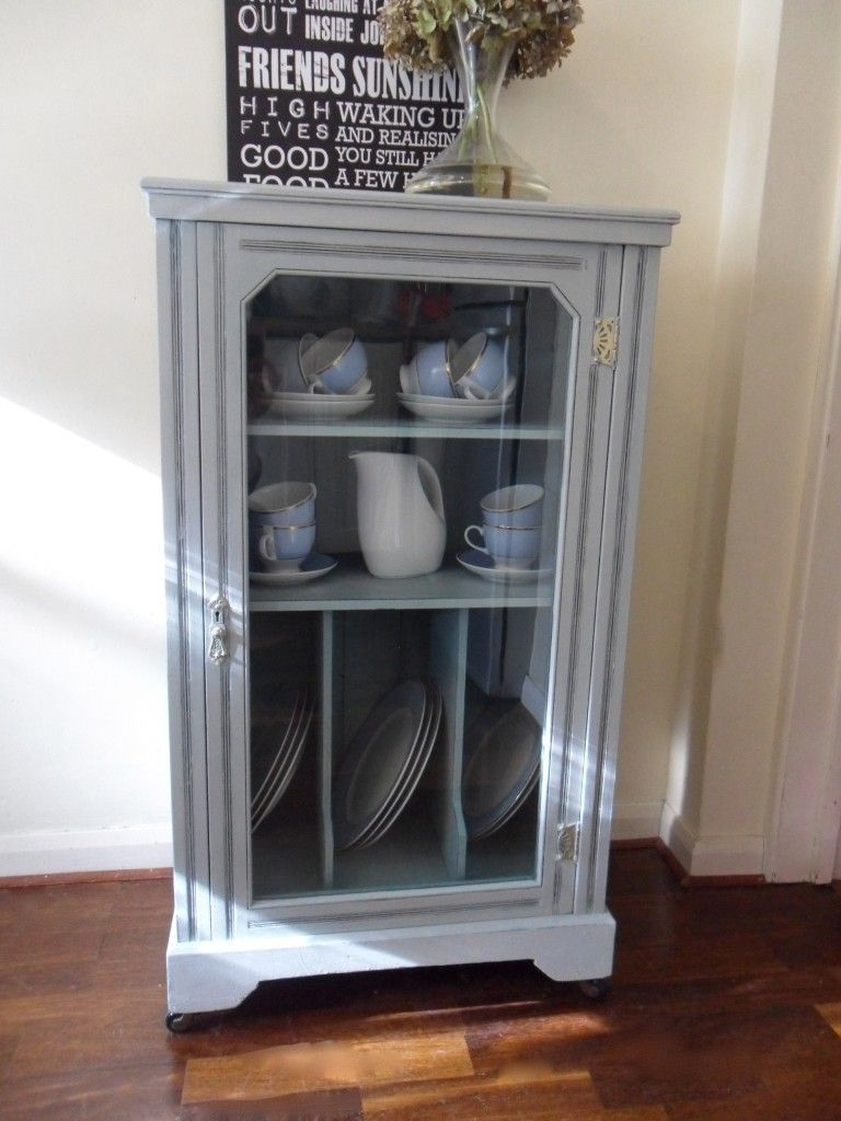 Lovely Glass Vintage Cabinet From 1940 Refinished In Annie Sloan Paris Grey And  Interior In Provence.