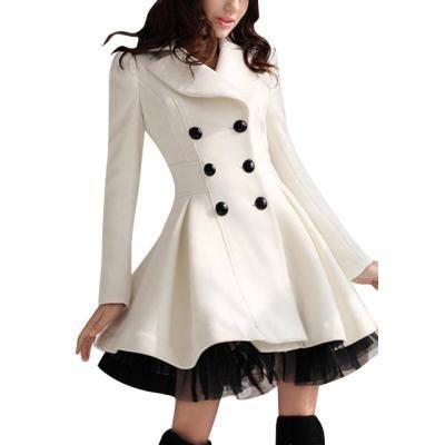 manteau femme l gant couleur blanche ourlet grand plis et froufrous inspiration monteau. Black Bedroom Furniture Sets. Home Design Ideas