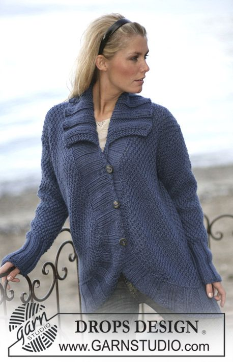 Drops Loosely Knitted Cardigan With Curved Edges In Alaska Drops