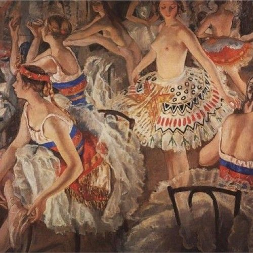 In Ballet Dressing Room (Big Ballerinas) by Zinaida Serebriakova (1922)