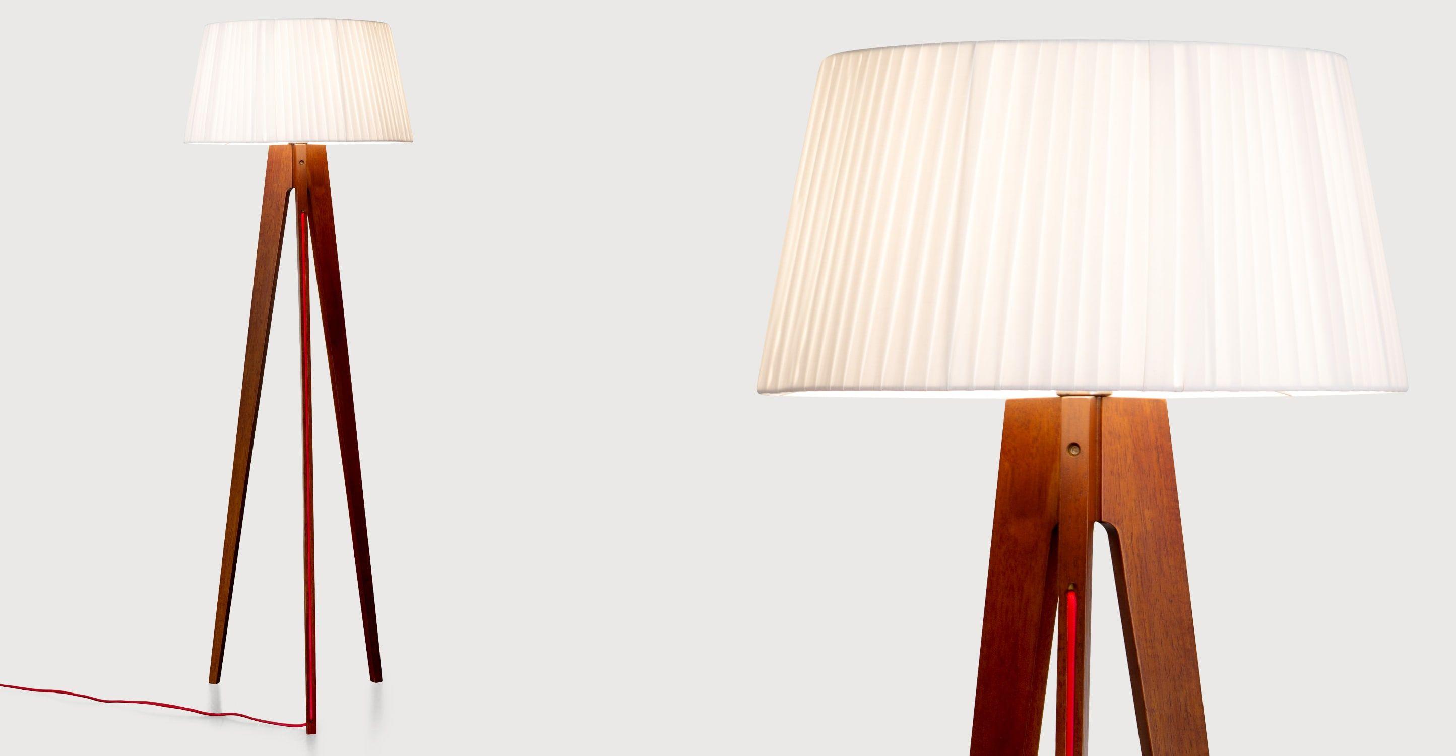 Miller Stehlampe, Walnuss Mit Rotem Kabel ▻ Moderne Design Leuchten In  Vielen Styles !