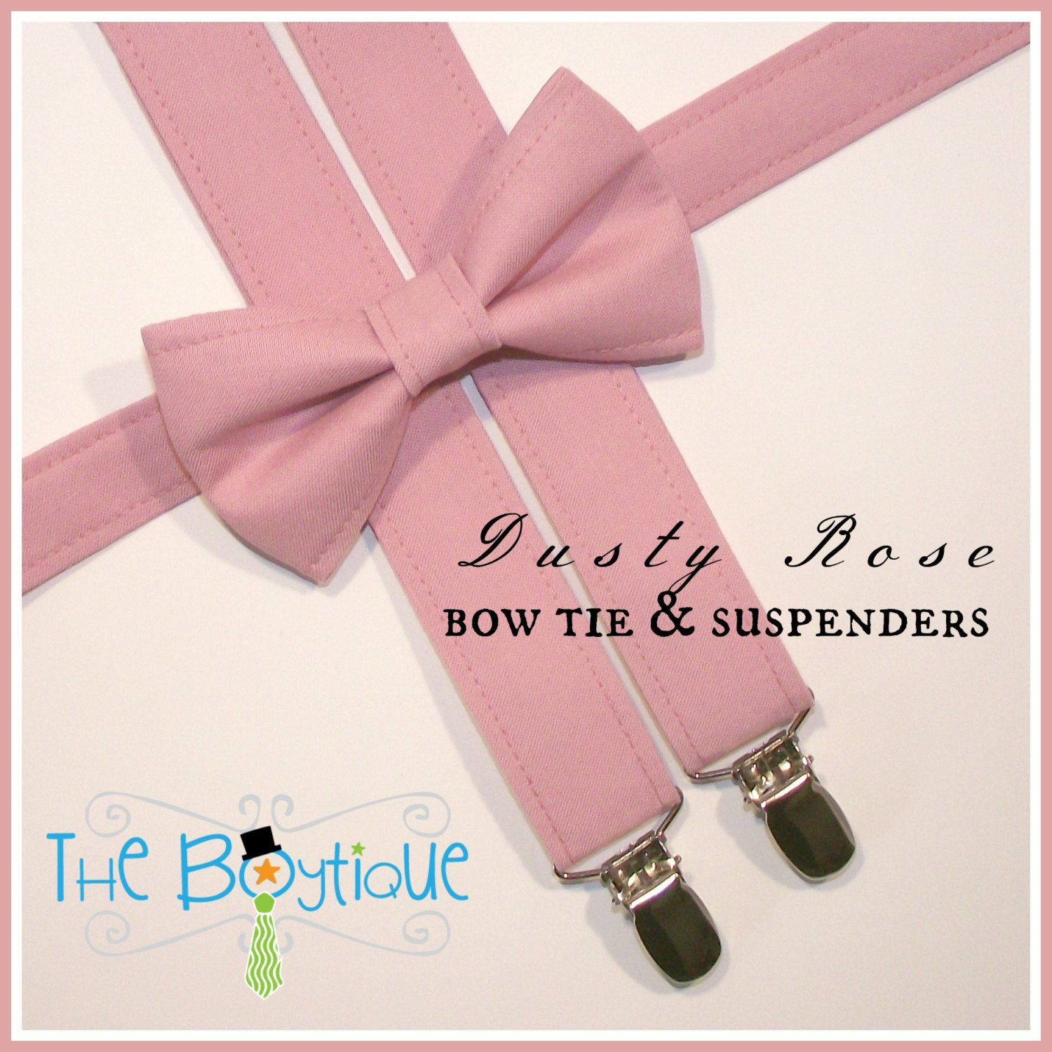 Dusty Rose Bow Ties and Suspenders, Boys, Kids, Toddler, Ring Bearer ...