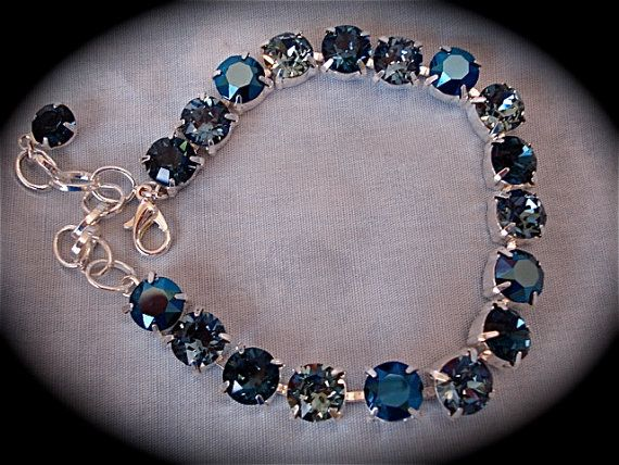 Dark Denim Blue Tennis Bracelet Swarovski Crystal
