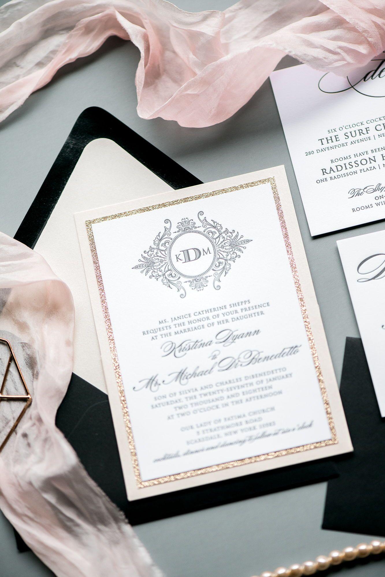 Jupiter And Juno Wedding Invitation Suite Abigail Modern And Elegant Monogram I Wedding Invitations Letterpress Wedding Invitations Blush Wedding Invitations